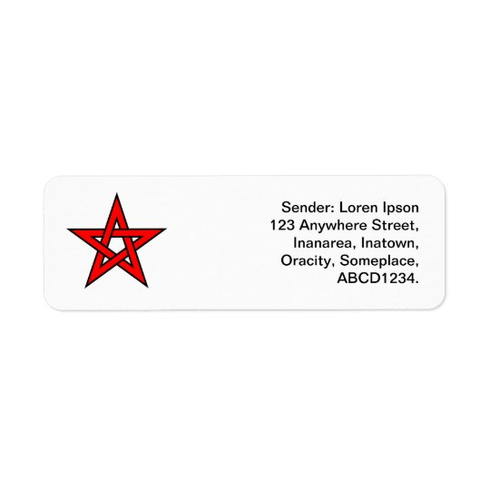 Pentagone étoilé - rouge étiquette d'adresse retour