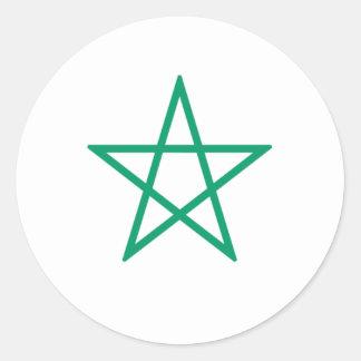 Pentagone étoilé vert droit sticker rond