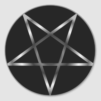 Pentagramme argenté sticker rond