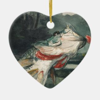 Perche noire Winslow Homer Ornement Cœur En Céramique