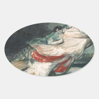 Perche noire Winslow Homer Sticker Ovale