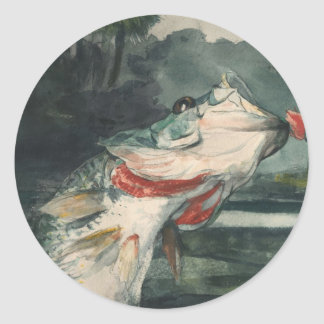 Perche noire Winslow Homer Sticker Rond