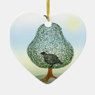 Perdrix à un coeur de Noël de poirier Décoration De Noël