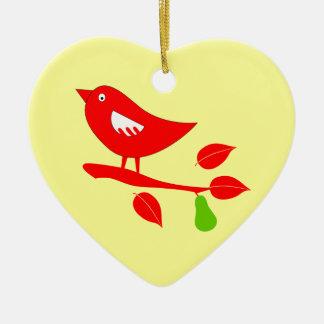 Perdrix rouge dans un poirier décorations pour sapins de noël