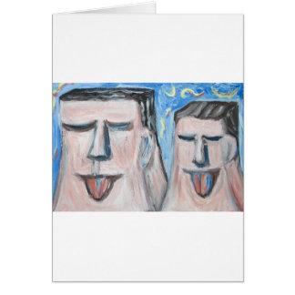 Père et fils embarrassants (expressionisme) carte de vœux