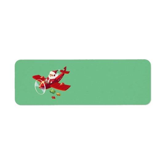Père Noël Animated et son avion Étiquette D'adresse Retour