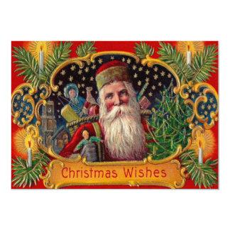 Père Noël apportant la bougie d'arbre de présents Carton D'invitation 12,7 Cm X 17,78 Cm