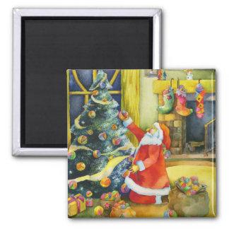 Père Noël avec des boules de fil : Aimant de Noël