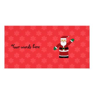 Père Noël avec le motif rouge de flocons de neige Cartes De Vœux Avec Photo