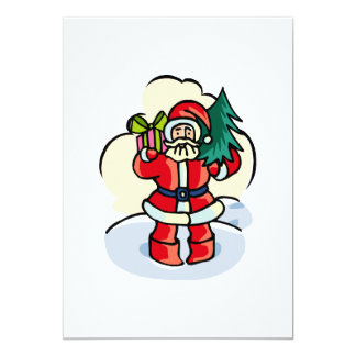 Père Noël avec le présent et l'arbre Carton D'invitation 12,7 Cm X 17,78 Cm