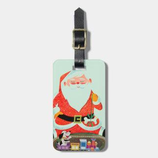 Père Noël avec le train Étiquette Pour Bagages