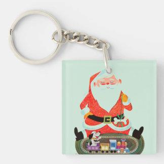 Père Noël avec le train Porte-clé Carré En Acrylique Double Face