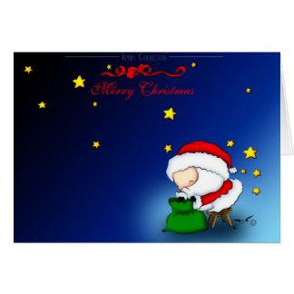 Père Noël avec sa valise des sucreries Cartes De Vœux