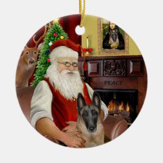 Père Noël - Belge Malinois Ornement Rond En Céramique