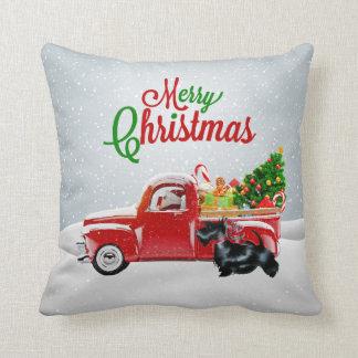 Père Noël, camion rouge, Noël Pillo de Terrier Oreiller
