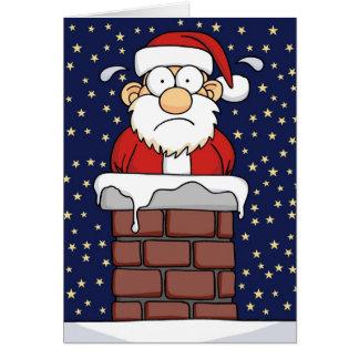 Père Noël coincé Carte De Vœux