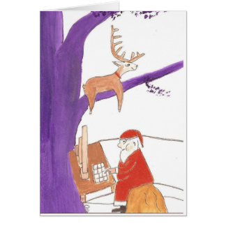 Père Noël commandant des cadeaux en ligne Carte De Vœux