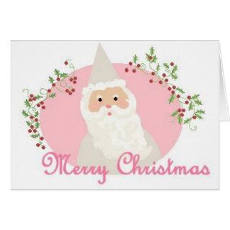 Père Noël dans la carte de voeux rose