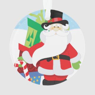 père Noël dans le tophat par la pile de presentts