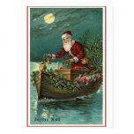 Père Noël dans son bateau Cartes Postales