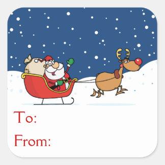 Père Noël dans son Sleigh Sticker Carré