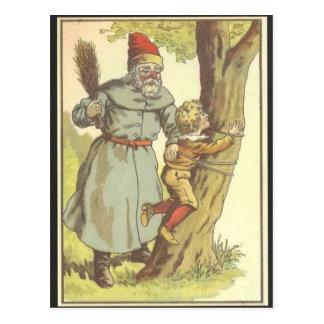 Père Noël donnant une fessée à une carte postale