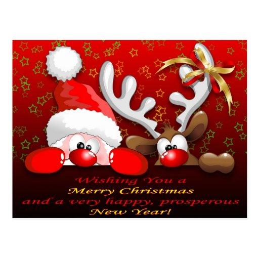 Père Noël drôle et Noël Postcar de bande dessinée  Cartes Postales