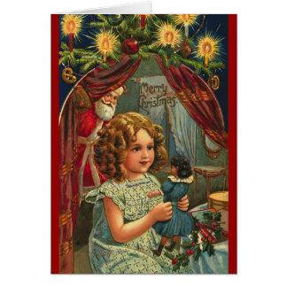 Père Noël, enfant victorien et carte de Noël de