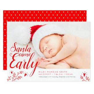 Père Noël est venu carte de Noël nouveau-née tôt