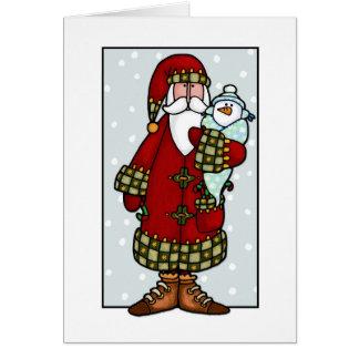 père Noël et bébé de neige Carte De Vœux
