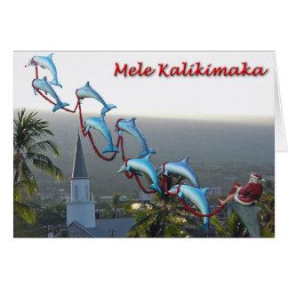 Père Noël et carte de Mele Kalikimaka de dauphins