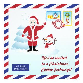 Père Noël et invitation d'échange de biscuit de