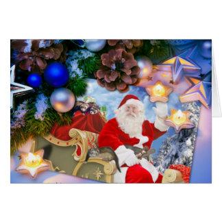 Père Noël et sa carte de Joyeux Noël de furets