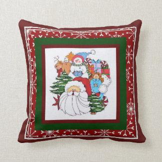 Père Noël et Sammy le coussin de bonhomme de neige