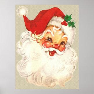 père Noël font face au poster vintage