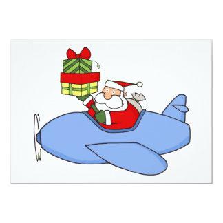 Père Noël fournit des présents dans l'avion Carton D'invitation 12,7 Cm X 17,78 Cm