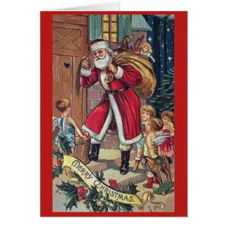 Père Noël frappant la carte de Noël vintage