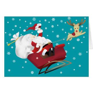 Père Noël heureux et carte de voeux de Noël de