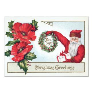 Père Noël houx guirlande poinsettia présent 25 Carton D'invitation 12,7 Cm X 17,78 Cm