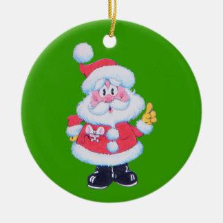 Père Noël indique l'ornement de Noël Ornement Rond En Céramique