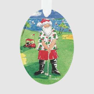 Père Noël jouant au golf l'ornement de Noël