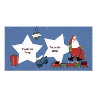 Père Noël, le train, le cadeau et le Noël tressent Photocarte