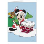Père Noël Mickey descendant la cheminée Carte