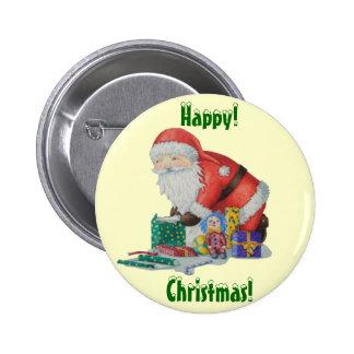 Père Noël mignon enveloppant les jouets et le bout Badges