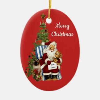 Père Noël mignon et ornement de Noël d'ours de