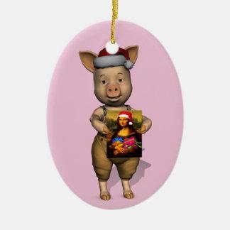 Père Noël mignon Piggie montrant l'image de Ornements