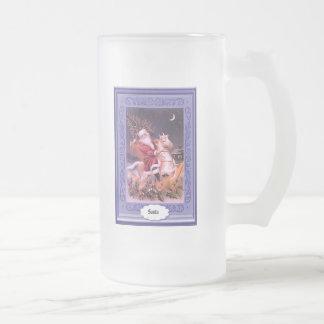 Père Noël montant un cheval blanc Mugs À Café