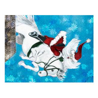 Père Noël monte un cheval - carte postale
