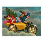 Père Noël monte une moto - Noël Carte Postale