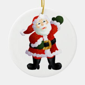 Père Noël Ornement Rond En Céramique